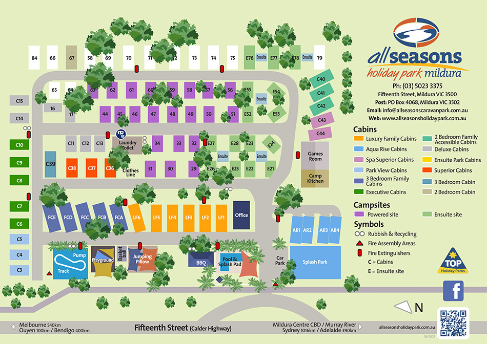 All Seasons Holiday Park Mildura map